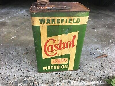 Vintage Castrol Wakefield One gallon oil tin can petrol collectable