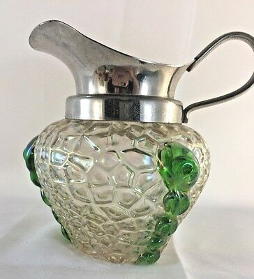 Kralik Art Nouveau Iridescent Art Glass Martelé Jug