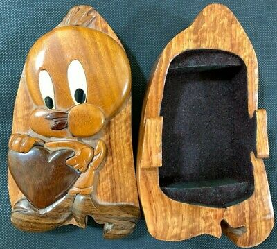 Wooden Looney Tunes Tweety Bird with Heart Box with Sliding Lid