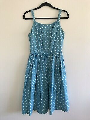 Vintage 1950s 50s Turquoise Blue Polka Dot Dress Size Small