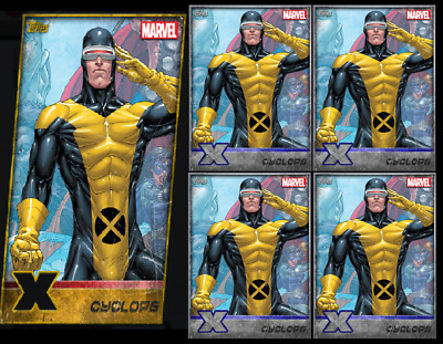 Topps Marvel Collect Card Trader X-Men Die Cut Cyclops Gold + 4 Silver