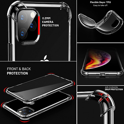 iPhone 11 Pro Max XR XS Clear Tough Silicon Shockproof Bumper Solid Case Cover