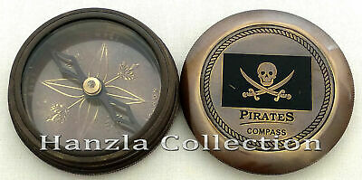 "Antique Brass Pirates Compass 2"" Maritime Nautical Robert Frost Poem Pocket Gift"