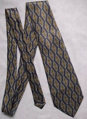 Vintage Tie MENS Necktie Retro RENE CHAGAL NAVY GOLD