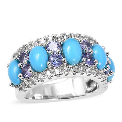 Sleeping Beauty Turquoise Tanzanite Band Ring Silver for Women Size 9 Ct 3.8