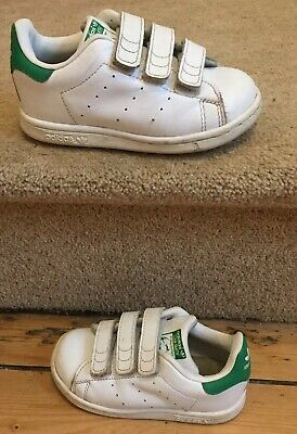 Kids Childs Infant Baby Adidas Velco Stan Smith Trainers Uk Infant 8