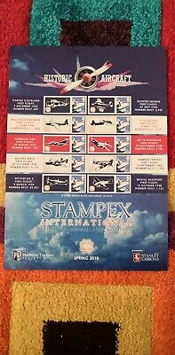 2018 Stampex Smilers Stamp Sheet Historic Aircraft (Philatelic Traders/Gibbons)