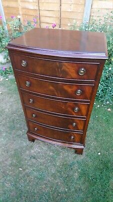 Bow Front Flame Mahogany Chest Of Drawers By Bevan & Funnell
