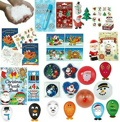 Kids Xmas Christmas Stocking Party Bag Filler Toys Games Puzzle Books Fake Snow
