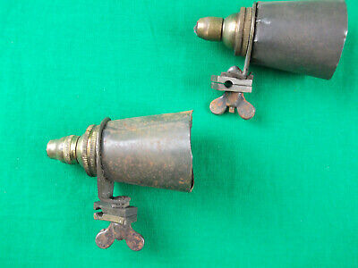 Clamp On Re-Claimed Brass Lamp Fittings Small Bayonet With Steel Naive Shades