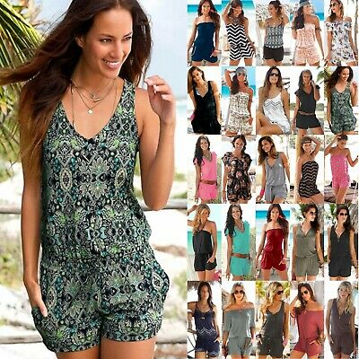 Women Boho Summer Mini Jumpsuit Playsuit Loose Shorts Pants Romper Beach Holiday