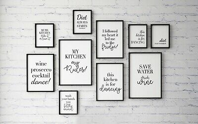 Funny Quotes - Kitchen ideas - word art - A4 black and white modern print