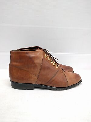 Sz 39 Vintage Ladies Brown Grunge Rock Flat lace up soft leather ankle boots