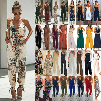Women Strappy V Neck Jumpsuit Playsuit Rompers Casual Overall Pants Beach Summer