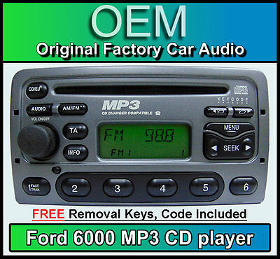 Ford Fiesta CD MP3 player, Ford 6000 MP3 car stereo + radio removal keys & code