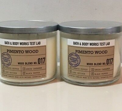 BATH /& BODY WORKS TEST LAB PIMENTO WOOD SCENTED CANDLE 3 WICK 14.5OZ LARGE NO 17