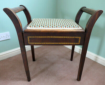 Antique Vintage Edwardian Wooden Piano Stool upholstered with lift up seat
