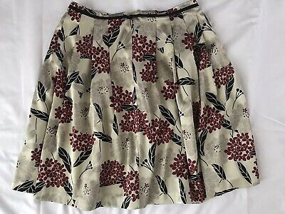 Womens Diana Ferrari Floral Print Silk Pleated Lined Skirt Sz 12