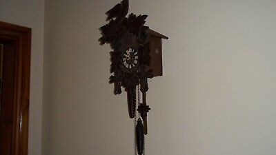 Cuckoo Clock West Germany Rugula Small Needs Attention Dark Wood Weights &