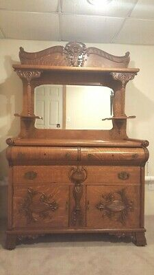 Antique Northwind Furniture Co Tiger Oak Sideboard Buffet w/ Mirror Carved Face
