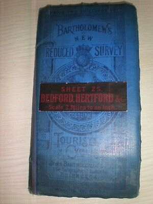 bartholomew's vintage bedford hertford map for tourists & cyclists bed