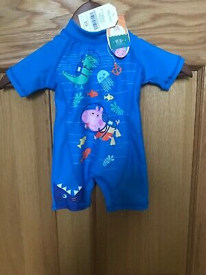 Baby Boys BNWT Peppa Pig Sun Protection UPF 50+ Swimsuit 6-9 Months