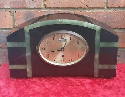 French Art Deco Slate Marble Mantle Clock