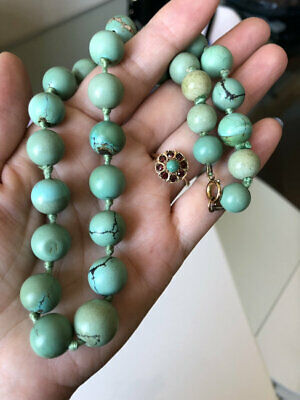 Superb Antique Old Chinese Natural Turquoise Round Bead Necklace 71G
