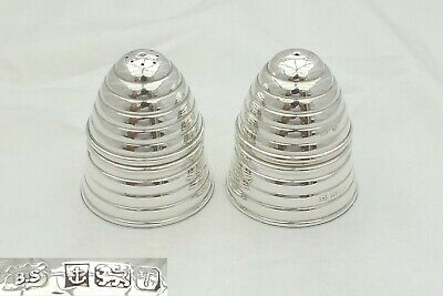 RARE PAIR of QUEEN ELIZABETH II HM STERLING SILVER BEEHIVE SALT AND PEPPER POTS
