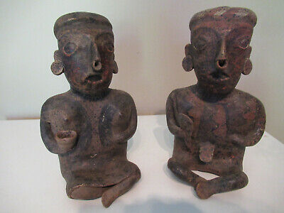 Beautiful Pair Of Pre Columbian  Nayarit Figures