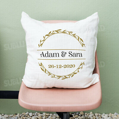 Personalized cushion with the first names and date of your choice wedding gifts