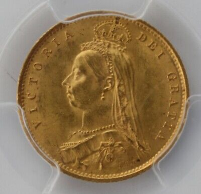 1887 Gold Half Sovereign Queen Victoria Jubilee Head PCGS MS63 Coin Normal JEB