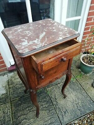 19th French Carved Walnut Marble  Top Bedside Cupboard