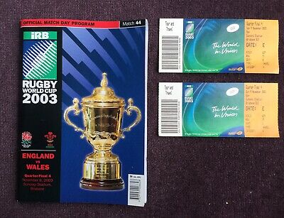 2003 Rugby  World Cup Quarter Final Programme & Tickets (England v Wales)