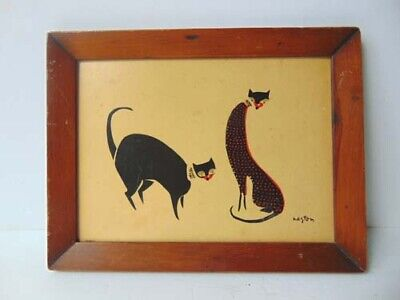 "2 Mod Cats Mid Century Modern Framed Print Signed ""Layton"" 60'S"