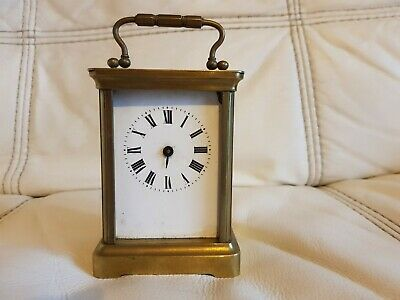 French Antique Brass Cased Carriage mantle Clock