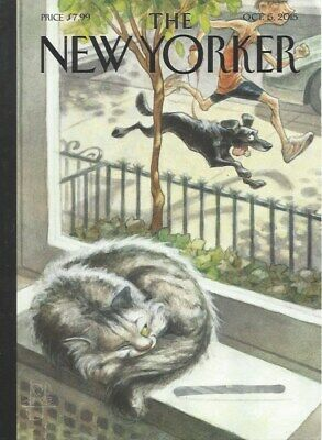 COVER ONLY ~ The New Yorker magazine ~ October 5 2015 ~ de SEVE ~ Cat Nap Dog