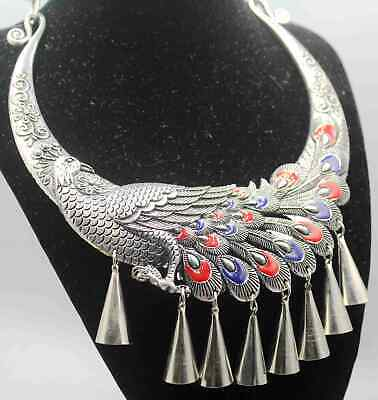 Collection Tibet Culture Miao Sliver Carved Phoenix Beautiful Good Luck Necklace