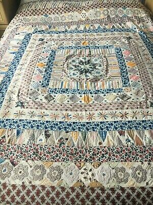 Antique Vintage Old Patchwork Quilt late C19th/early C20th handmade LARGE 7ft sq