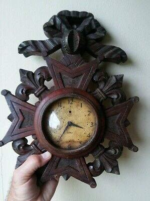 GERMAN CROSS Antique Black Forest Wall Clock Carved Wood SUPER RARE