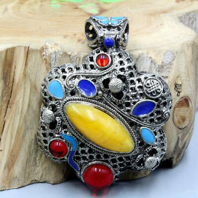 Collectable China Handwork Miao Silver Mosaic Agate Girl Beautiful Noble Pendant