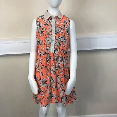 Young Dimension Girls Orange Floral Collared Sleeveless Dress UK Age 8-9 Years