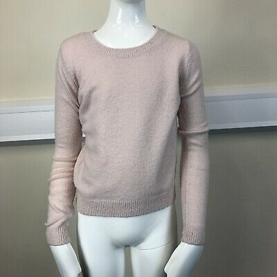 River Island Girls Pink Fluffy Mohair Long Sleeved Jumper Top UK Age 9-10 Years