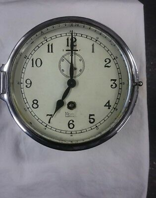 Mercer St Albans  Early 1900S 8 Day Ships Bulkhead Clock G.w.o Chrome Body