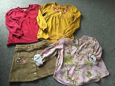 RS 4 Piece 6 Years Girls Bundle Skirt & Tops. Next Pink Floral. Mustard Red Tops