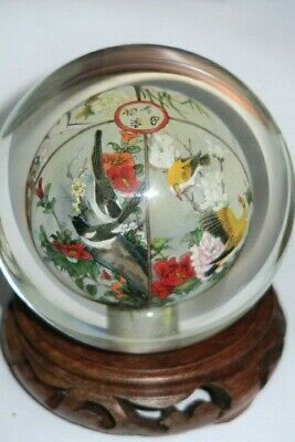 Chinese Inside Reverse Painting Glass Globe Four Sections - Ducks
