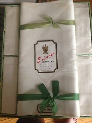 Vtg SIP Erinore Pure Irish Linen Double Damask Tablecloth 72 X 54 & 6 Napkins