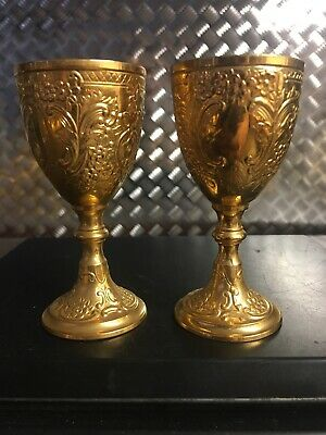 Vtg PAIR of CORBELL & Co. METAL EMBOSSED FOOTED WINE CUP GOBLET CHALICE 3 1/4""