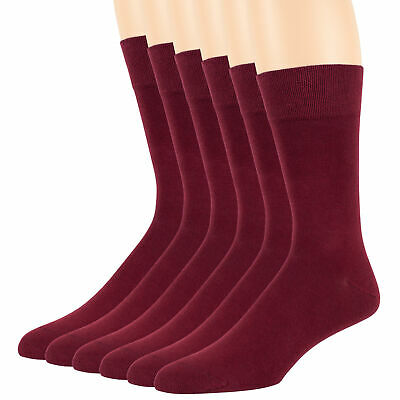 Men Bamboo Hypoallergenic Burgundy 6 Pack Dress Crew Anti Itch Breathable Socks