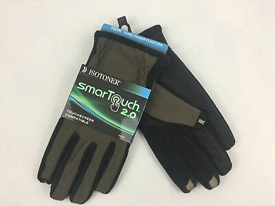 ISOTONER - SmarTouch 2.0 Men's TOUCHSCREEN COMPATIBLE Gloves Green Black L